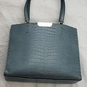 Calvin Klein Faux Croc Bag Steel Blue